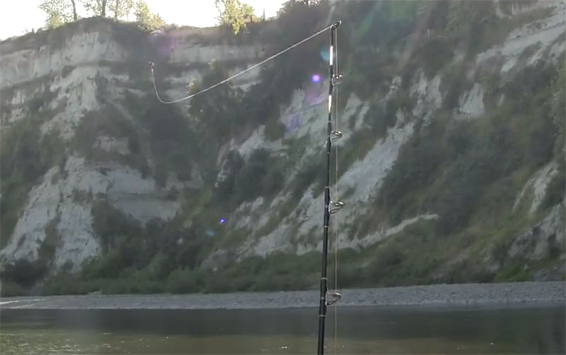 Fishing line attached to drone