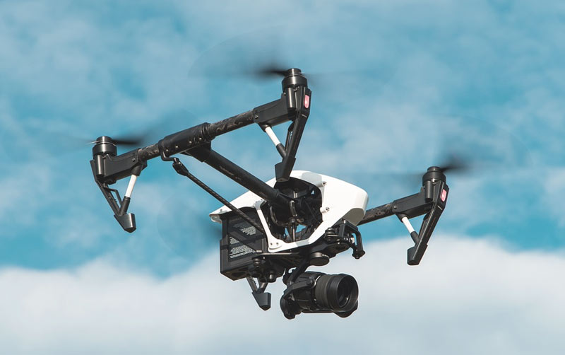 Drone flying in air