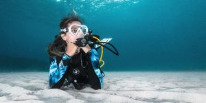 Scuba Diver Girl Resting