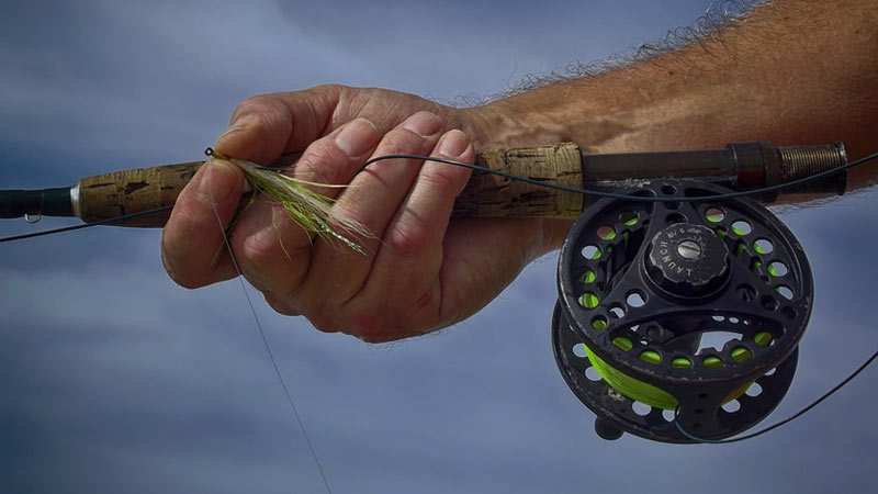 flyfishing line and rod