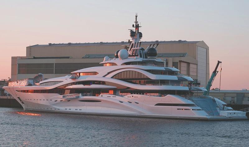 motor yacht at sunset
