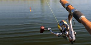 spinning rod fishing at lake