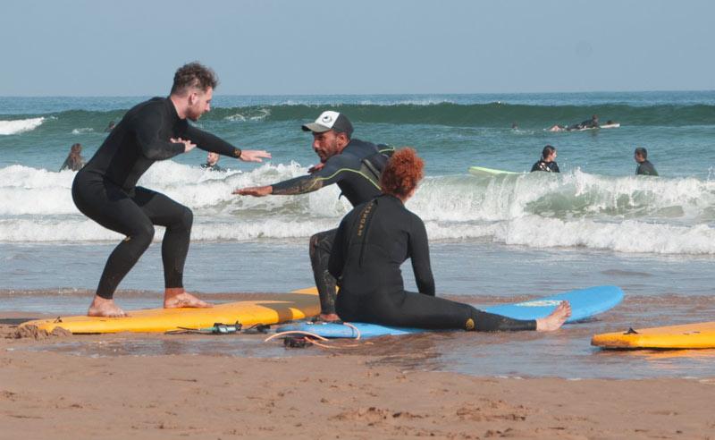 surf practice on beach